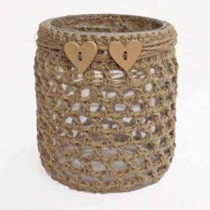 Käsin koristeltu lyhty pellavasta