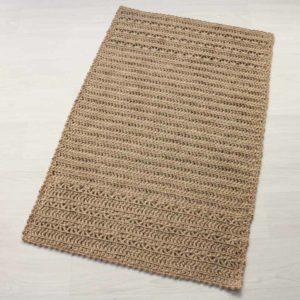 juutista virkattu suorakaide matto