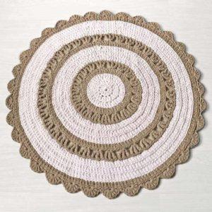 Beige-valkoinen virkattu matto Polku