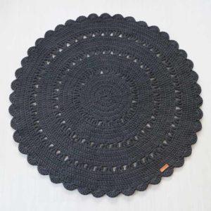 tummanharmaa teräs virkattu matto 110 cm