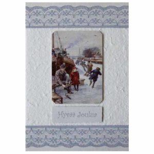 nostalginen käsintehty joulukortti