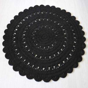 musta virkattu puuvillamatto 110 cm