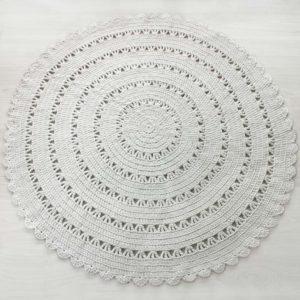 vitivalkoinen virkattu matto 160 cm